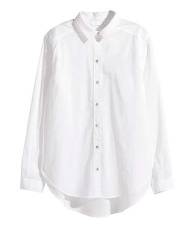 Cotton Shirt - neckline: shirt collar/peter pan/zip with opening; pattern: plain; style: shirt; predominant colour: white; occasions: casual, work, creative work; length: standard; fibres: cotton - 100%; fit: loose; sleeve length: long sleeve; sleeve style: standard; texture group: cotton feel fabrics; pattern type: fabric; season: a/w 2015; wardrobe: basic