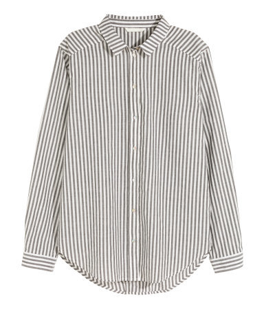 Cotton Shirt - neckline: shirt collar/peter pan/zip with opening; pattern: vertical stripes; style: shirt; predominant colour: white; secondary colour: navy; occasions: casual, work, creative work; length: standard; fibres: cotton - 100%; fit: straight cut; sleeve length: long sleeve; sleeve style: standard; texture group: cotton feel fabrics; pattern type: fabric; pattern size: standard; season: a/w 2015