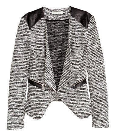 Textured Jacket - style: single breasted blazer; collar: shawl/waterfall; pattern: herringbone/tweed; secondary colour: mid grey; predominant colour: black; occasions: evening, creative work; length: standard; fit: tailored/fitted; sleeve length: long sleeve; sleeve style: standard; collar break: low/open; pattern type: fabric; texture group: tweed - light/midweight; season: a/w 2015; wardrobe: investment