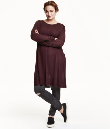 + Fine Knit Tunic - neckline: round neck; pattern: plain; style: tunic; predominant colour: burgundy; occasions: casual, creative work; fit: loose; length: mid thigh; sleeve length: long sleeve; sleeve style: standard; texture group: knits/crochet; season: a/w 2015; wardrobe: highlight
