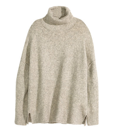 + Fine Knit Jumper - pattern: plain; length: below the bottom; neckline: roll neck; style: standard; predominant colour: stone; occasions: casual, creative work; fibres: acrylic - 100%; fit: loose; sleeve length: long sleeve; sleeve style: standard; texture group: knits/crochet; pattern type: knitted - fine stitch; season: a/w 2015; wardrobe: basic