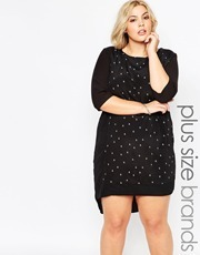 Plus Size Calca Dress In Mono Floral Print Sugar Flower - style: shift; predominant colour: black; occasions: casual; length: on the knee; fit: body skimming; fibres: viscose/rayon - 100%; neckline: crew; sleeve length: long sleeve; sleeve style: standard; pattern type: fabric; pattern size: light/subtle; pattern: florals; texture group: jersey - stretchy/drapey; season: a/w 2015; wardrobe: highlight