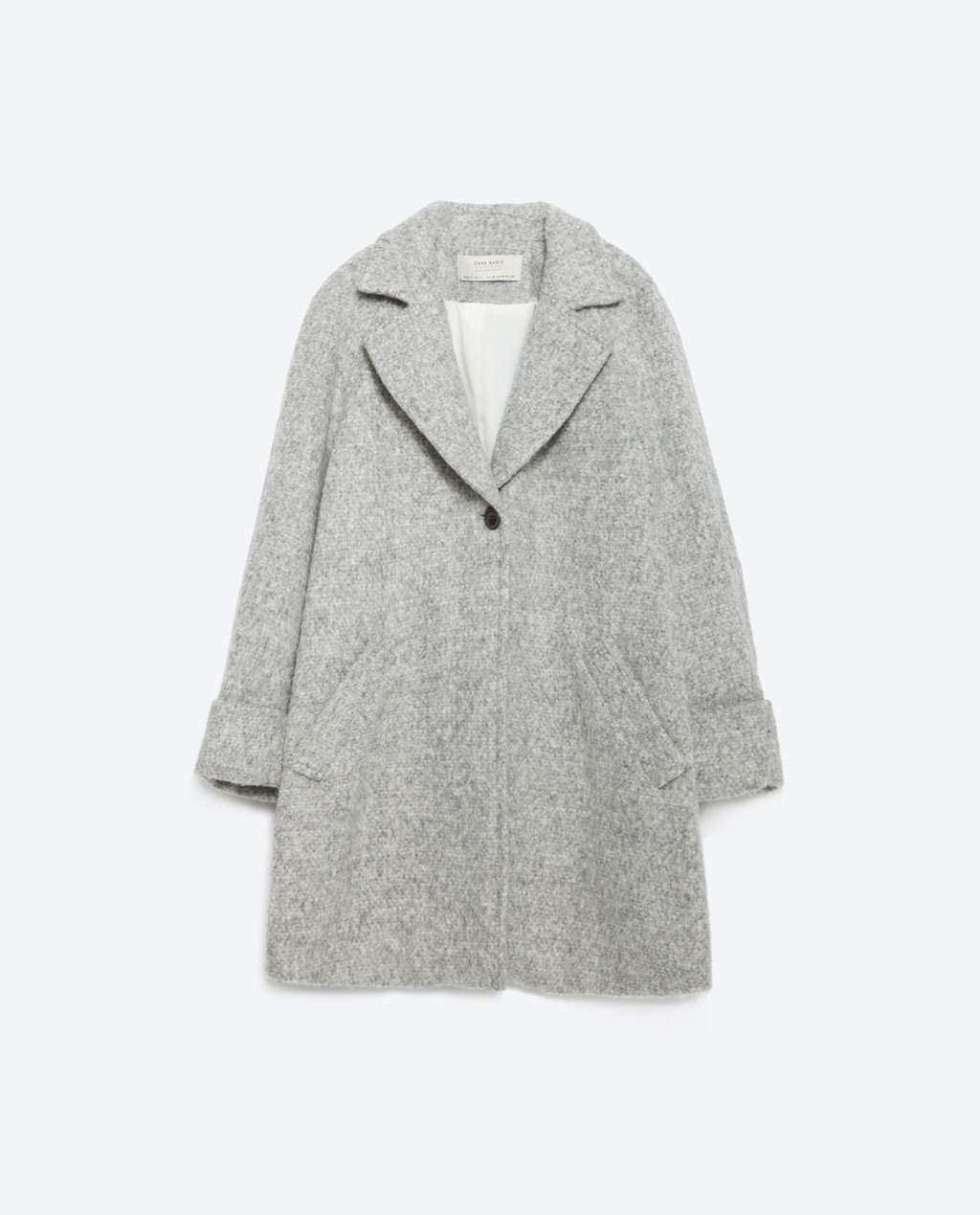Wool Coat - style: single breasted; collar: standard lapel/rever collar; pattern: herringbone/tweed; length: mid thigh; predominant colour: light grey; occasions: casual, creative work; fit: straight cut (boxy); fibres: wool - 100%; sleeve length: long sleeve; sleeve style: standard; collar break: medium; pattern type: fabric; texture group: woven bulky/heavy; season: a/w 2015
