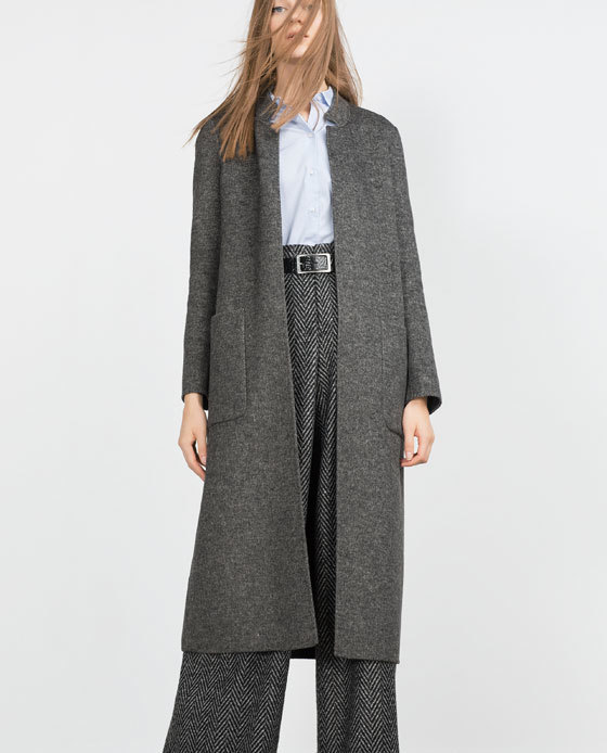 """Handmade"" Long Coat - pattern: plain; collar: round collar/collarless; fit: loose; predominant colour: charcoal; occasions: casual, work, creative work; length: below the knee; sleeve length: long sleeve; sleeve style: standard; collar break: low/open; pattern type: fabric; texture group: woven bulky/heavy; style: duster coat; season: a/w 2015; wardrobe: basic"