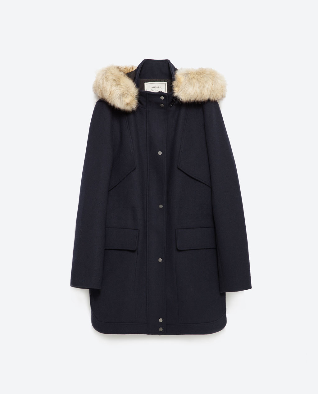 Wool Parka - pattern: plain; length: below the bottom; collar: funnel; style: single breasted; predominant colour: navy; occasions: casual; fit: straight cut (boxy); fibres: wool - 100%; sleeve length: long sleeve; sleeve style: standard; collar break: high; pattern type: fabric; texture group: woven bulky/heavy; embellishment: fur; season: a/w 2015; wardrobe: highlight