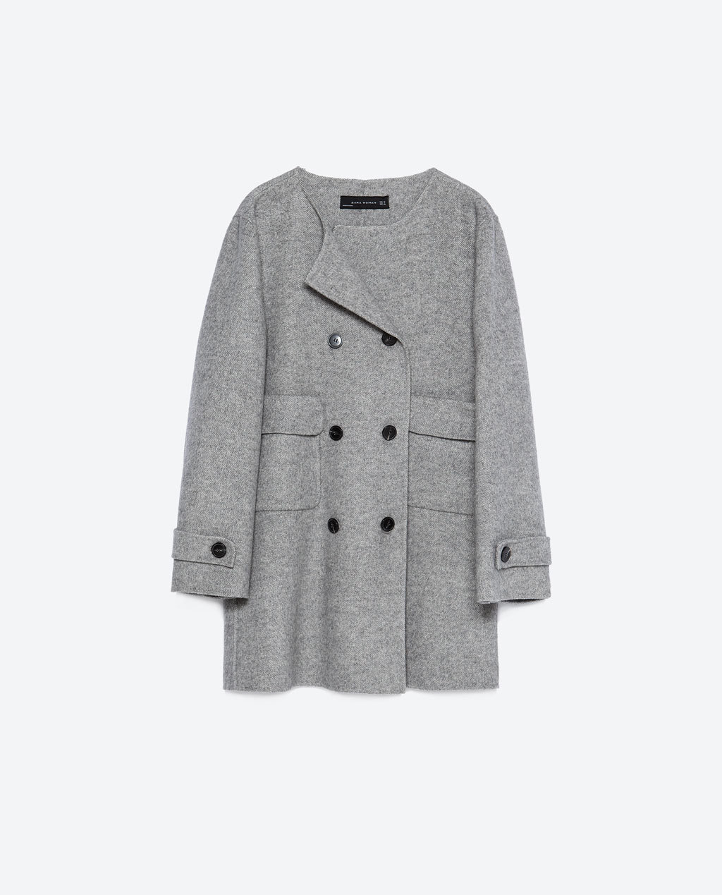 Hand Made Coat - pattern: plain; length: below the bottom; collar: round collar/collarless; style: double breasted; predominant colour: mid grey; occasions: casual; fit: straight cut (boxy); fibres: wool - mix; back detail: back vent/flap at back; sleeve length: long sleeve; sleeve style: standard; collar break: high; pattern type: fabric; texture group: woven bulky/heavy; season: a/w 2015