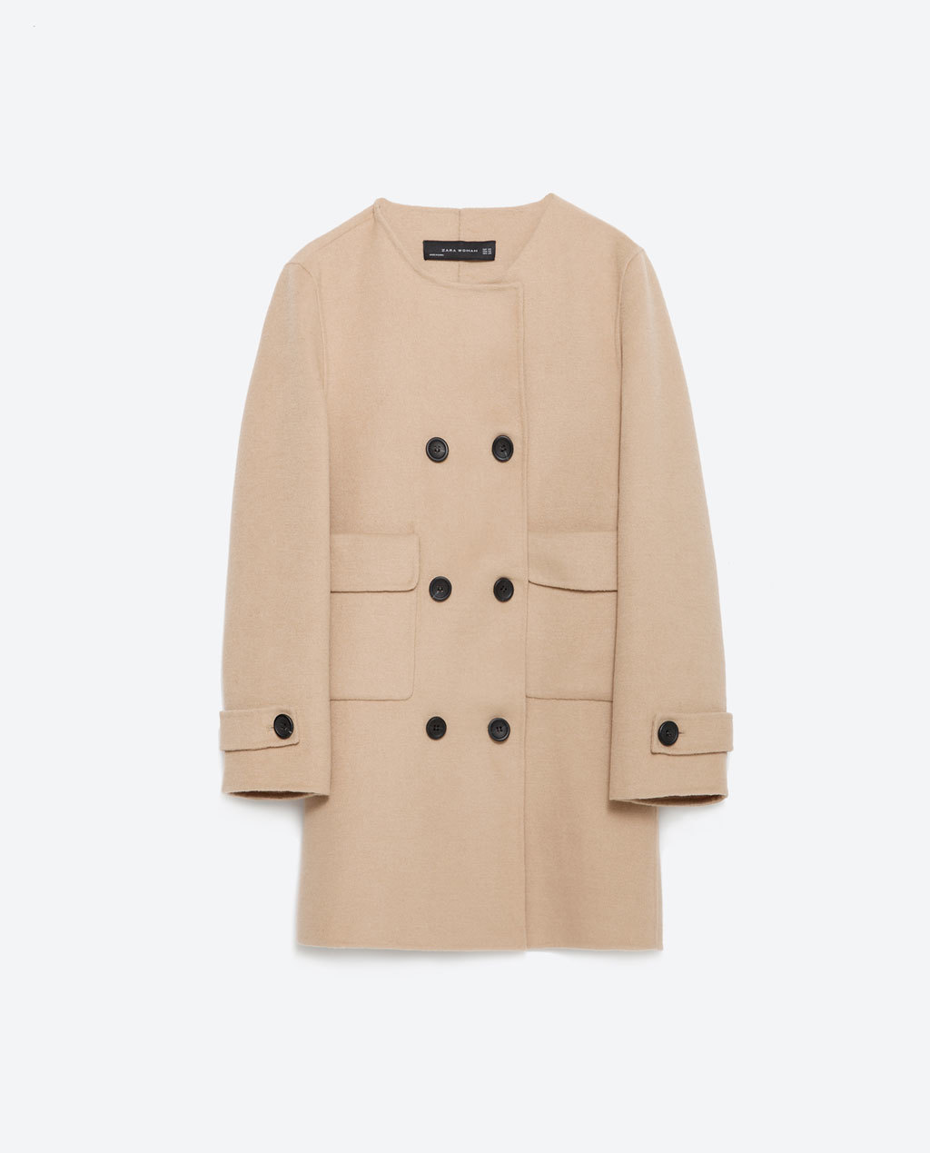 Hand Made Coat - pattern: plain; length: below the bottom; collar: round collar/collarless; style: double breasted; predominant colour: nude; occasions: casual; fit: straight cut (boxy); fibres: wool - mix; sleeve length: long sleeve; sleeve style: standard; collar break: high; pattern type: fabric; texture group: woven bulky/heavy; season: a/w 2015; wardrobe: basic