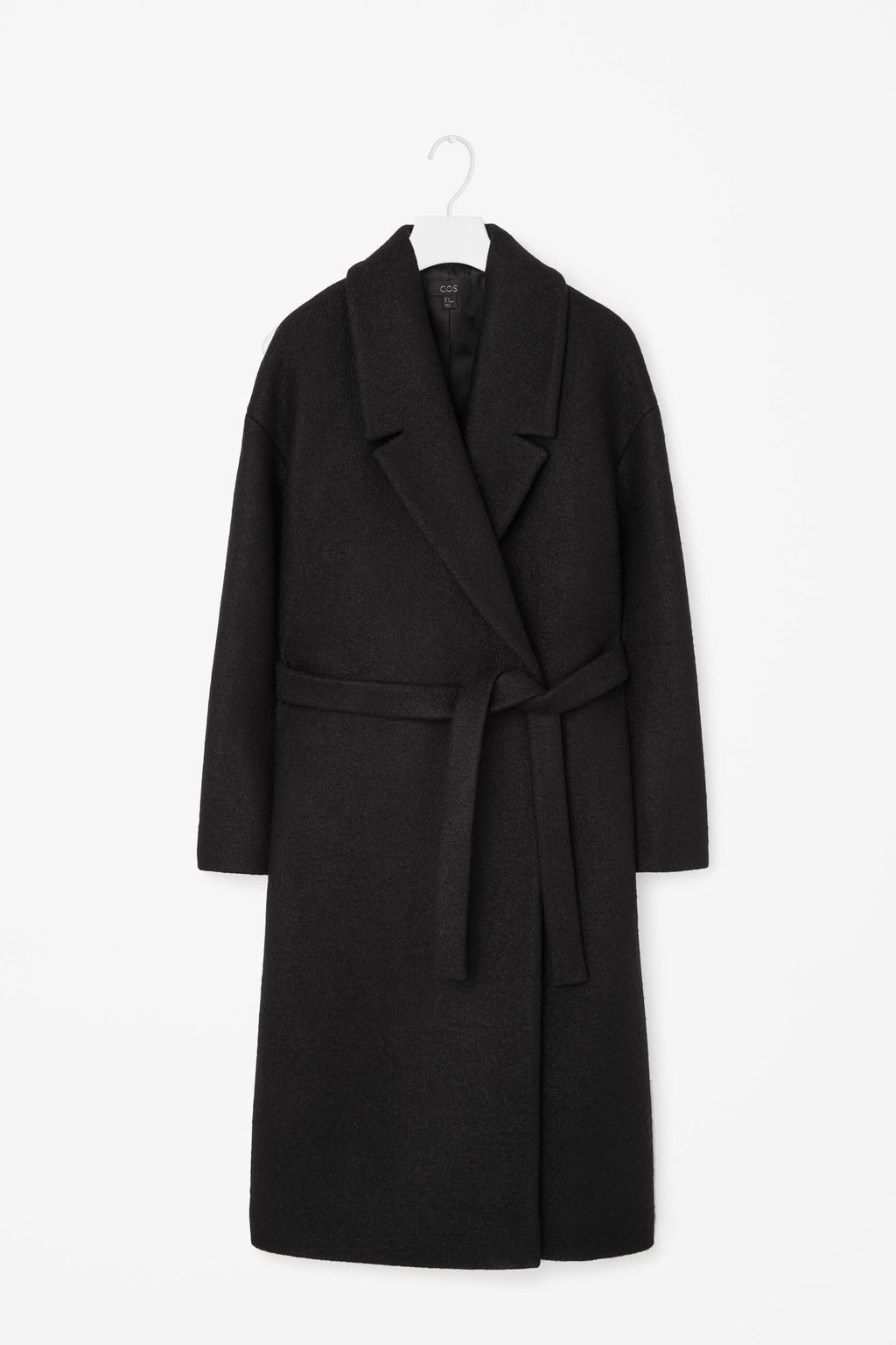 Belted Wool Coat - pattern: plain; style: single breasted; length: on the knee; collar: standard lapel/rever collar; predominant colour: black; occasions: casual, work, creative work; fit: tailored/fitted; fibres: wool - 100%; waist detail: belted waist/tie at waist/drawstring; sleeve length: long sleeve; sleeve style: standard; collar break: medium; pattern type: fabric; texture group: woven bulky/heavy; season: a/w 2015; wardrobe: basic