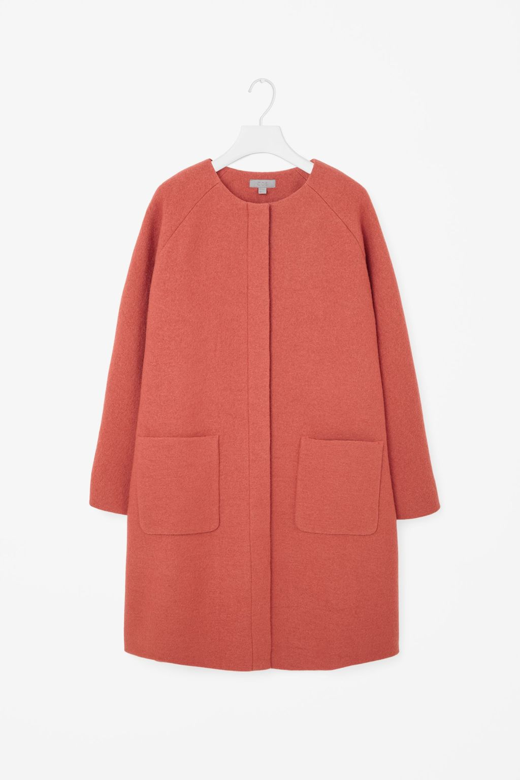 A Line Wool Coat - pattern: plain; collar: round collar/collarless; style: single breasted; length: mid thigh; predominant colour: coral; occasions: casual, creative work; fit: straight cut (boxy); fibres: wool - 100%; sleeve length: long sleeve; sleeve style: standard; collar break: high; pattern type: fabric; texture group: woven bulky/heavy; season: a/w 2015; wardrobe: highlight; embellishment location: hip