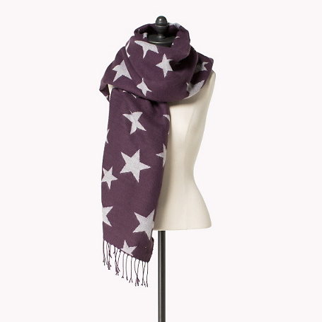Elodie Printed Scarf - predominant colour: purple; occasions: casual, creative work; type of pattern: heavy; style: regular; size: large; material: fabric; embellishment: fringing; pattern: patterned/print; season: a/w 2015