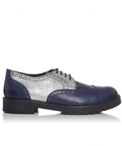 Delrey Metallic Brogues - predominant colour: navy; secondary colour: silver; occasions: casual, creative work; material: leather; heel height: flat; toe: round toe; style: brogues; finish: metallic; pattern: colourblock; shoe detail: tread; season: a/w 2015; wardrobe: highlight