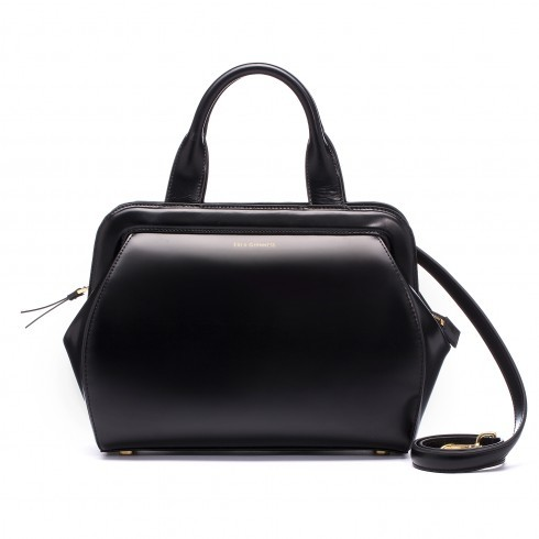 Black Polished Leather Mid Paula - predominant colour: black; occasions: work, creative work; type of pattern: standard; style: tote; length: handle; size: small; material: leather; pattern: plain; finish: plain; season: a/w 2015; wardrobe: investment