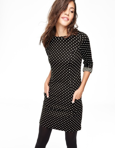 Dotty Shift Summer Dress Black & Ivory Women, Black & Ivory - style: shift; pattern: polka dot; secondary colour: white; predominant colour: black; occasions: evening; length: just above the knee; fit: body skimming; fibres: polyester/polyamide - mix; neckline: crew; sleeve length: 3/4 length; sleeve style: standard; pattern type: fabric; texture group: jersey - stretchy/drapey; multicoloured: multicoloured; season: a/w 2015