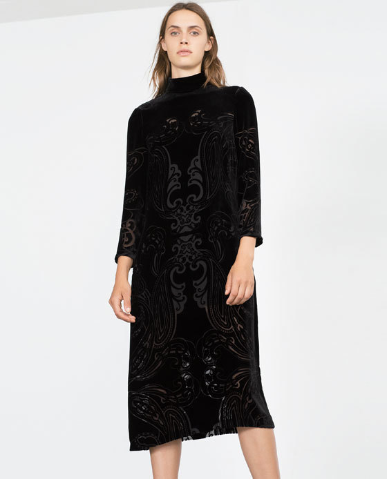 Long Velvet Dress - style: shift; length: below the knee; fit: loose; neckline: high neck; predominant colour: black; occasions: evening, occasion; sleeve length: long sleeve; sleeve style: standard; pattern type: fabric; pattern size: standard; pattern: patterned/print; texture group: velvet/fabrics with pile; season: a/w 2015; wardrobe: event