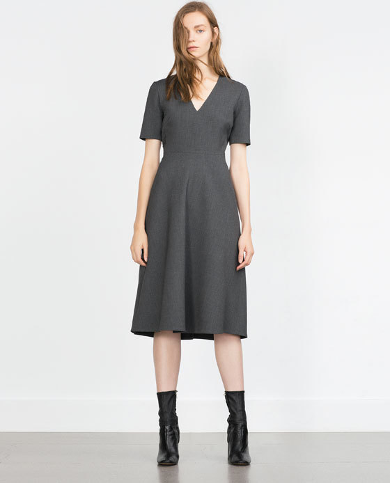 Flared Dress - length: below the knee; neckline: low v-neck; pattern: plain; predominant colour: charcoal; occasions: evening, creative work; fit: fitted at waist & bust; style: fit & flare; fibres: polyester/polyamide - stretch; hip detail: subtle/flattering hip detail; sleeve length: short sleeve; sleeve style: standard; pattern type: fabric; texture group: woven light midweight; season: a/w 2015; wardrobe: investment