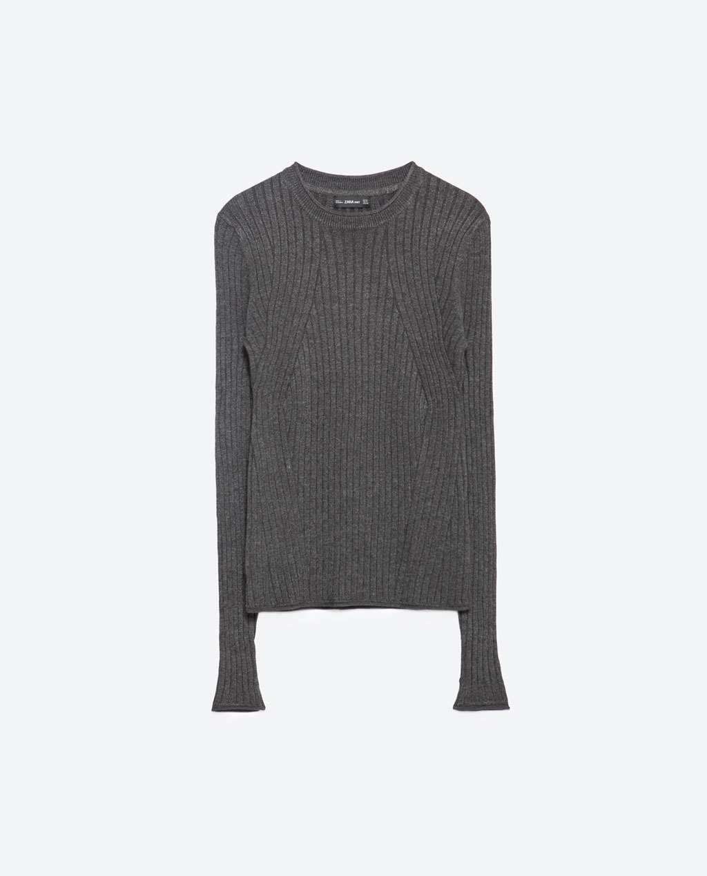 Ribbed Jersey - pattern: plain; style: standard; predominant colour: light grey; occasions: casual, creative work; length: standard; fit: standard fit; neckline: crew; sleeve length: long sleeve; sleeve style: standard; texture group: knits/crochet; pattern type: knitted - fine stitch; season: a/w 2015; wardrobe: basic