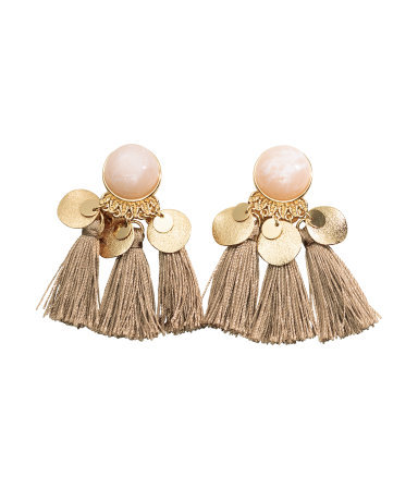Earrings - predominant colour: gold; occasions: evening, occasion; style: drop; length: mid; size: standard; material: chain/metal; fastening: pierced; finish: plain; embellishment: tassels; season: a/w 2015; wardrobe: event