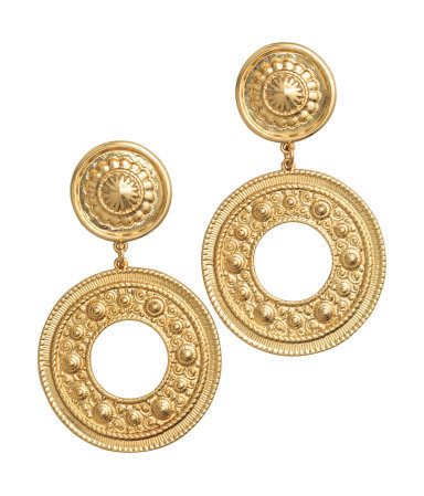 Long Earrings - predominant colour: gold; occasions: evening, occasion, creative work; style: hoop; length: mid; size: standard; material: chain/metal; fastening: pierced; finish: metallic; season: a/w 2015