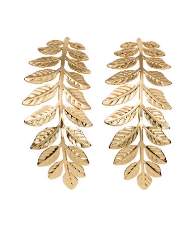 Leaf Shaped Earrings - predominant colour: gold; occasions: evening, occasion; style: drop; length: long; size: standard; material: chain/metal; fastening: pierced; finish: metallic; season: a/w 2015; wardrobe: event
