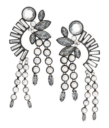 Sparkly Earrings - predominant colour: silver; occasions: evening, occasion; style: chandelier; length: long; size: large/oversized; material: chain/metal; fastening: pierced; finish: plain; embellishment: crystals/glass; season: a/w 2015; wardrobe: event