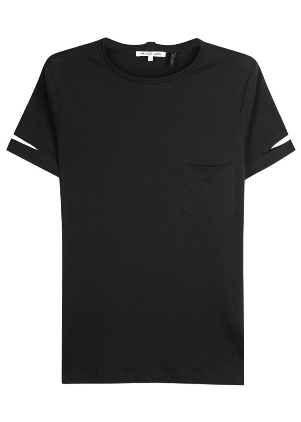 Black Cut Out Cotton T Shirt Size - neckline: round neck; pattern: plain; style: t-shirt; predominant colour: black; occasions: casual; length: standard; fibres: cotton - 100%; fit: straight cut; sleeve length: short sleeve; sleeve style: standard; pattern type: fabric; texture group: jersey - stretchy/drapey; season: a/w 2015; wardrobe: basic