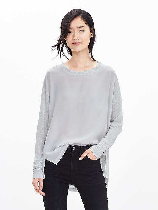 Gray Ribbed Pullover Light Gray Heather - sleeve style: dolman/batwing; pattern: plain; style: standard; predominant colour: light grey; occasions: casual, creative work; length: standard; fibres: polyester/polyamide - 100%; fit: loose; neckline: crew; sleeve length: long sleeve; texture group: knits/crochet; pattern type: knitted - fine stitch; season: a/w 2015; wardrobe: basic