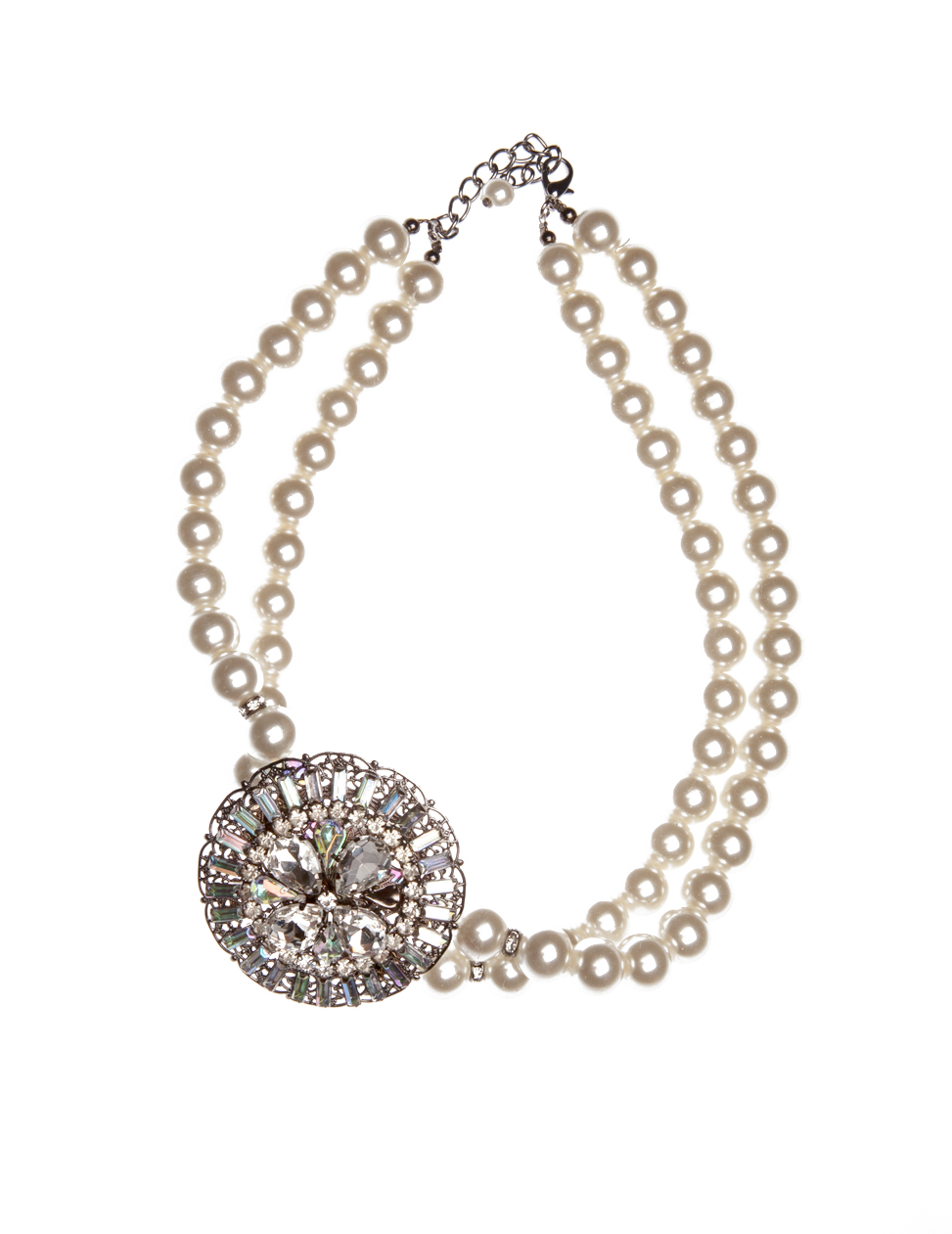 Caitrin Pearl Necklace - predominant colour: ivory/cream; occasions: occasion; length: short; size: large/oversized; material: chain/metal; finish: metallic; embellishment: pearls; secondary colour: clear; style: bib/statement; season: a/w 2015; wardrobe: event