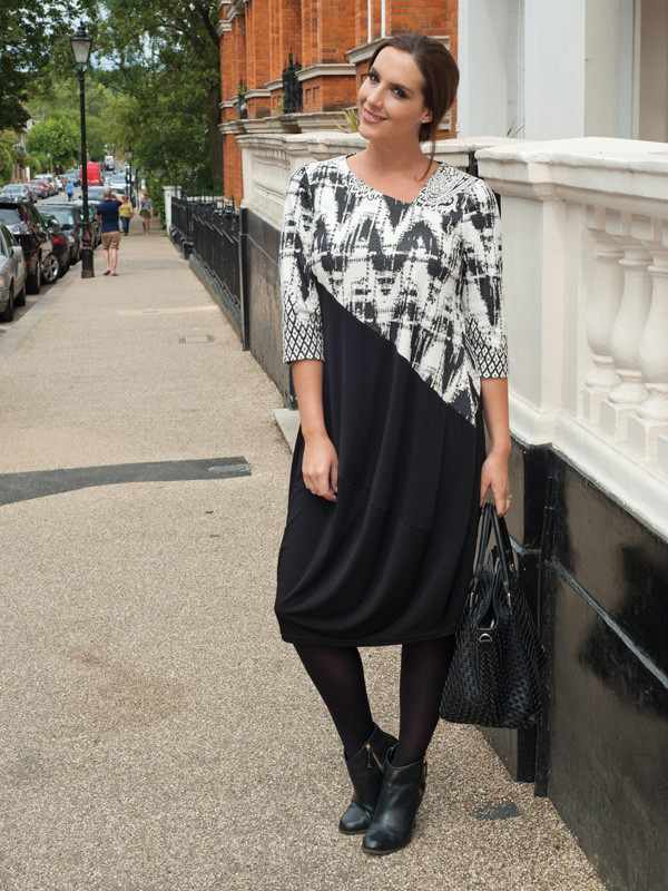 Black/Ivory Print And Plain Mix Jersey Dress - style: smock; length: below the knee; fit: loose; secondary colour: white; predominant colour: black; occasions: evening; fibres: polyester/polyamide - stretch; neckline: crew; sleeve length: 3/4 length; sleeve style: standard; pattern type: fabric; pattern: patterned/print; texture group: jersey - stretchy/drapey; multicoloured: multicoloured; season: a/w 2015; wardrobe: event