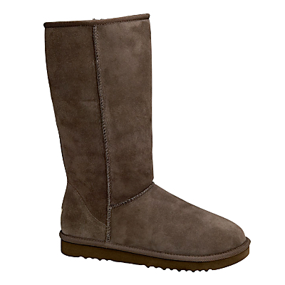 Classic Tall Boots - predominant colour: chocolate brown; occasions: casual; material: suede; heel height: flat; heel: standard; toe: round toe; boot length: mid calf; finish: plain; pattern: plain; shoe detail: tread; season: a/w 2015; style: sheepskin boots