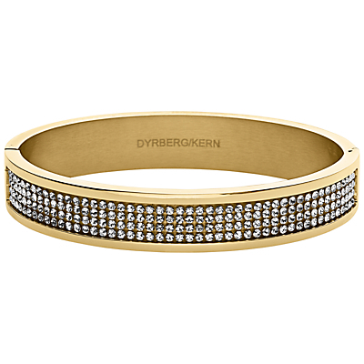 Dyrberg/Kern Heli Gold Swarovski Bangle - predominant colour: gold; occasions: evening, occasion; style: bangle/standard; size: standard; material: chain/metal; finish: metallic; embellishment: crystals/glass; secondary colour: clear; season: a/w 2015; wardrobe: event