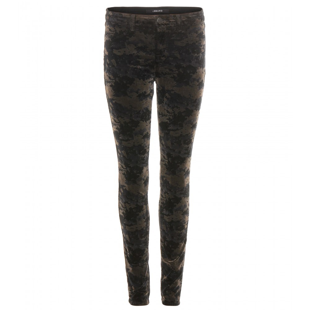 Mid Rise Super Skinny Printed Velvet Jeans - style: skinny leg; length: standard; pocket detail: traditional 5 pocket; waist: mid/regular rise; predominant colour: black; occasions: casual, evening; fibres: cotton - stretch; pattern type: fabric; pattern: patterned/print; texture group: velvet/fabrics with pile; season: a/w 2015