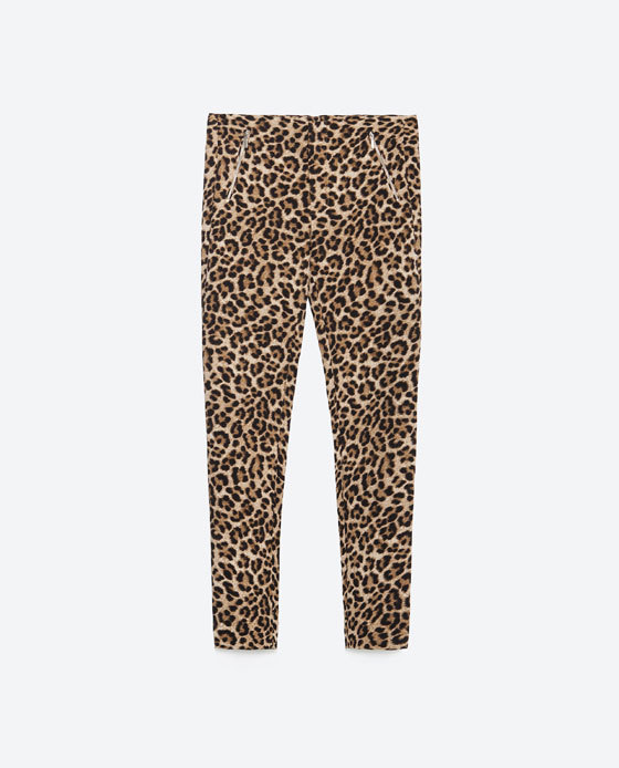 Trousers With Zips - waist: high rise; predominant colour: camel; secondary colour: black; occasions: casual, creative work; fibres: polyester/polyamide - stretch; pattern type: fabric; pattern: animal print; texture group: woven light midweight; pattern size: standard (bottom); multicoloured: multicoloured; season: a/w 2015; length: short shorts; fit: skinny/tight leg