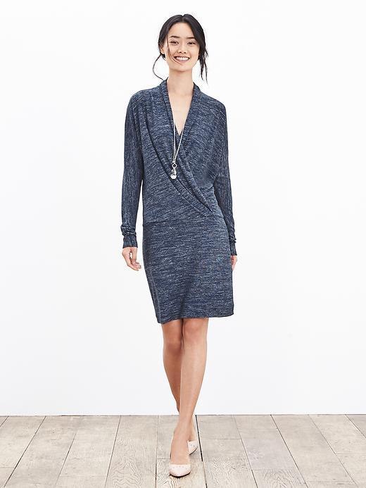 Faux Wrap Knit Dress Navy - style: faux wrap/wrap; neckline: low v-neck; pattern: plain; predominant colour: navy; occasions: casual; length: just above the knee; fit: straight cut; fibres: polyester/polyamide - stretch; sleeve length: long sleeve; sleeve style: standard; texture group: knits/crochet; pattern type: knitted - fine stitch; season: a/w 2015; wardrobe: basic