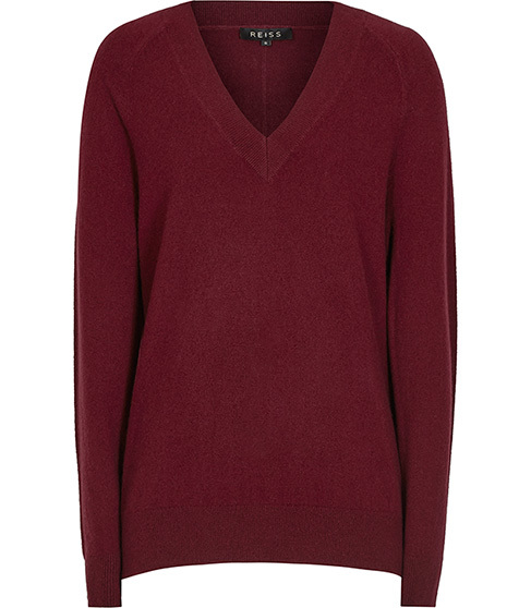 Bekah Cashmere Jumper - neckline: v-neck; pattern: plain; style: standard; predominant colour: burgundy; occasions: casual; length: standard; fit: slim fit; fibres: cashmere - 100%; sleeve length: long sleeve; sleeve style: standard; texture group: knits/crochet; pattern type: fabric; season: a/w 2015; wardrobe: highlight