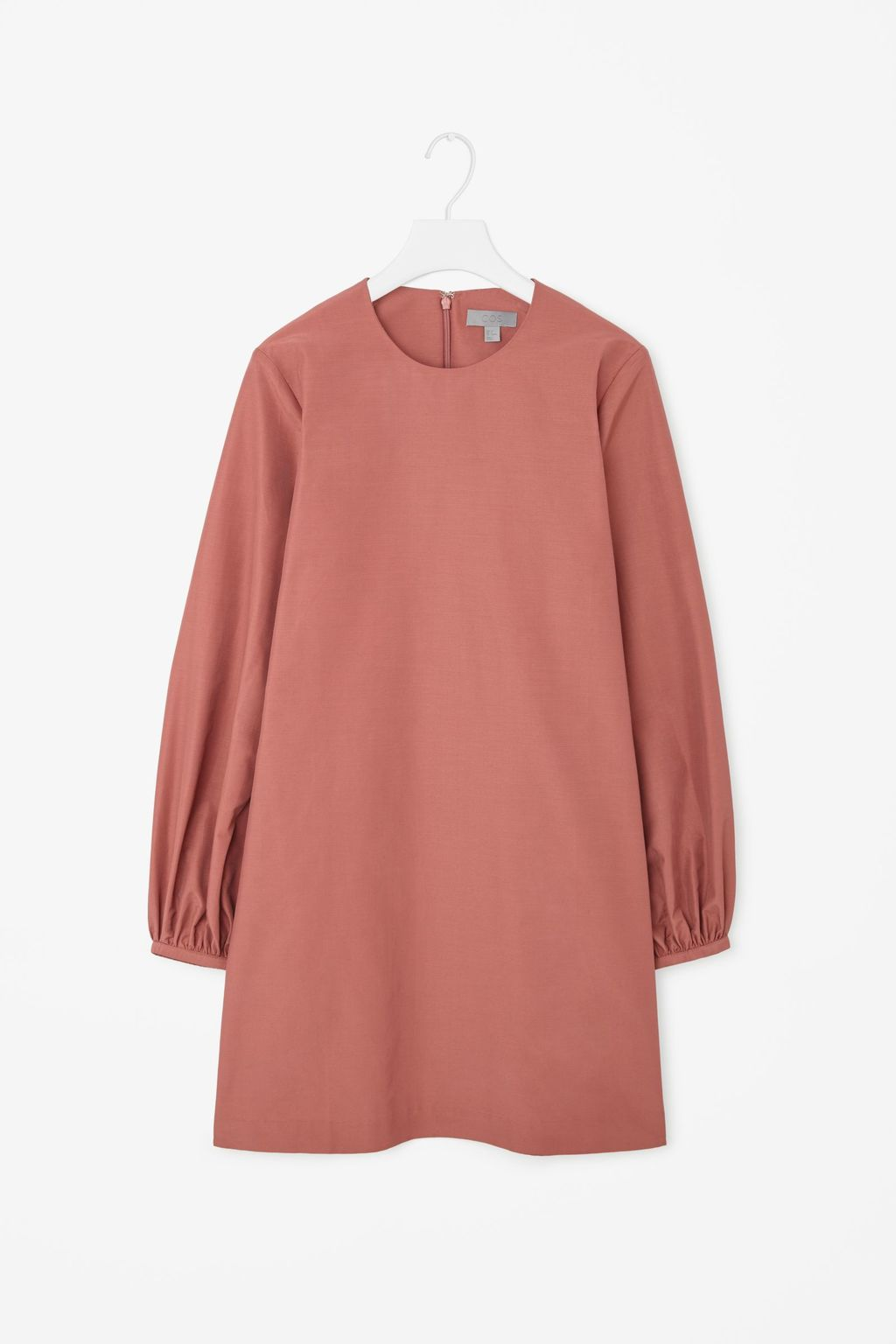 Dress With Gathered Cuffs - style: shift; length: mid thigh; pattern: plain; sleeve style: balloon; predominant colour: pink; occasions: casual, creative work; fit: straight cut; fibres: cotton - mix; neckline: crew; sleeve length: long sleeve; pattern type: fabric; texture group: woven light midweight; season: a/w 2015; trends: pink aw 15; wardrobe: highlight
