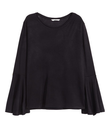 Top With Frilled Sleeves - neckline: round neck; sleeve style: angel/waterfall; pattern: plain; predominant colour: black; occasions: casual, evening, creative work; length: standard; style: top; fibres: polyester/polyamide - 100%; fit: straight cut; sleeve length: long sleeve; pattern type: fabric; texture group: jersey - stretchy/drapey; season: a/w 2015; wardrobe: basic