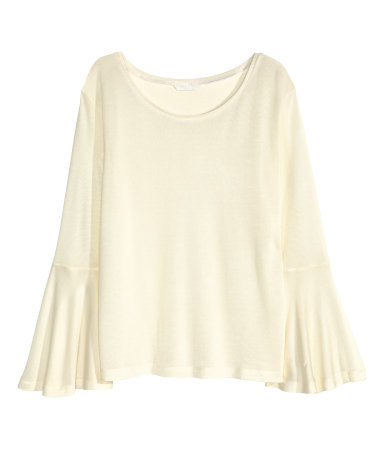 Top With Frilled Sleeves - neckline: round neck; sleeve style: angel/waterfall; pattern: plain; style: blouse; predominant colour: ivory/cream; occasions: casual, creative work; length: standard; fibres: polyester/polyamide - 100%; fit: loose; sleeve length: long sleeve; pattern type: fabric; texture group: jersey - stretchy/drapey; season: a/w 2015; wardrobe: basic