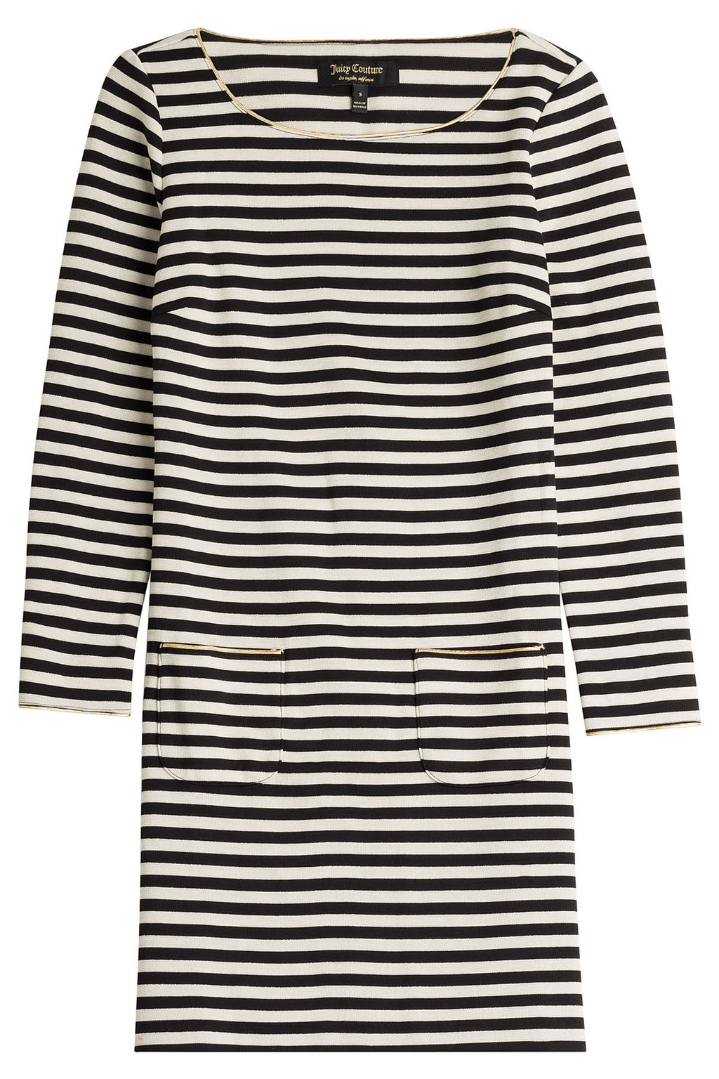 Striped Jersey Dress - style: shift; length: mid thigh; neckline: round neck; pattern: horizontal stripes; secondary colour: ivory/cream; predominant colour: black; occasions: casual, creative work; fit: body skimming; fibres: polyester/polyamide - stretch; hip detail: subtle/flattering hip detail; sleeve length: long sleeve; sleeve style: standard; pattern type: fabric; pattern size: standard; texture group: jersey - stretchy/drapey; season: a/w 2015; wardrobe: basic