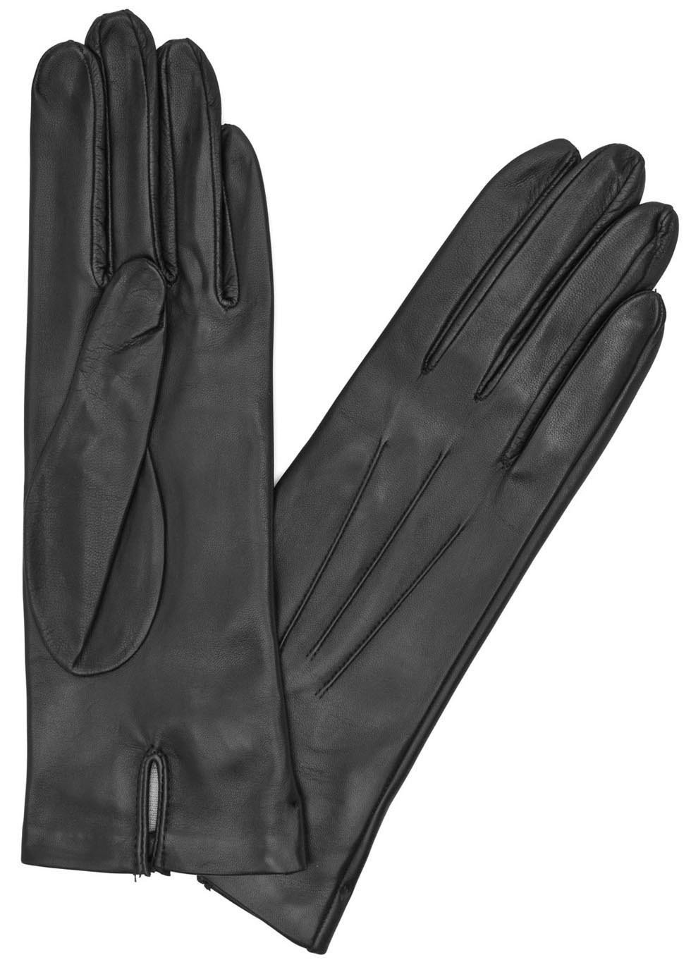 Black Silk Lined Leather Gloves - predominant colour: black; occasions: casual, creative work; type of pattern: standard; style: standard; length: wrist; material: leather; pattern: plain; season: a/w 2015; wardrobe: basic