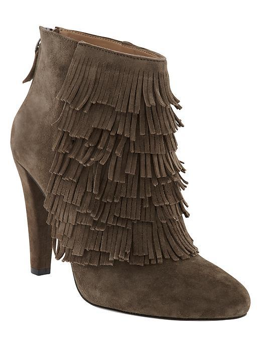 Darcey Italian Leather Bootie Doe - predominant colour: chocolate brown; occasions: casual, creative work; material: suede; heel height: high; heel: stiletto; toe: round toe; boot length: ankle boot; style: standard; finish: plain; pattern: plain; embellishment: fringing; season: a/w 2015