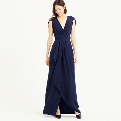 Collection Petal Sleeve Gown - neckline: v-neck; sleeve style: capped; pattern: plain; style: maxi dress; length: ankle length; predominant colour: navy; occasions: evening, occasion; fit: fitted at waist & bust; hip detail: structured pleats at hip; sleeve length: sleeveless; texture group: crepes; bust detail: tiers/frills/bulky drapes/pleats; pattern type: fabric; season: a/w 2015; wardrobe: event