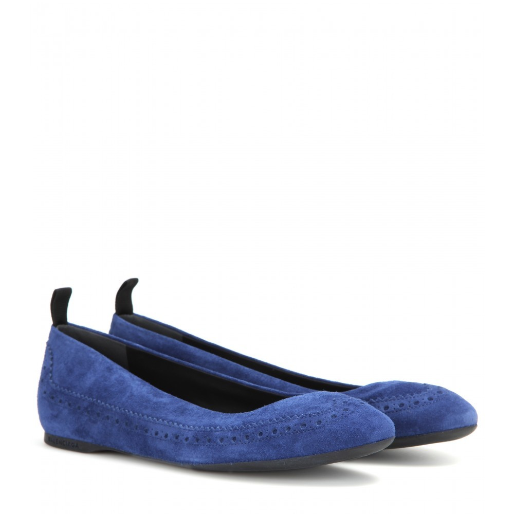 Suede Ballerinas - predominant colour: royal blue; occasions: casual, creative work; material: suede; heel height: flat; toe: round toe; style: ballerinas / pumps; finish: plain; pattern: plain; season: a/w 2015; wardrobe: highlight