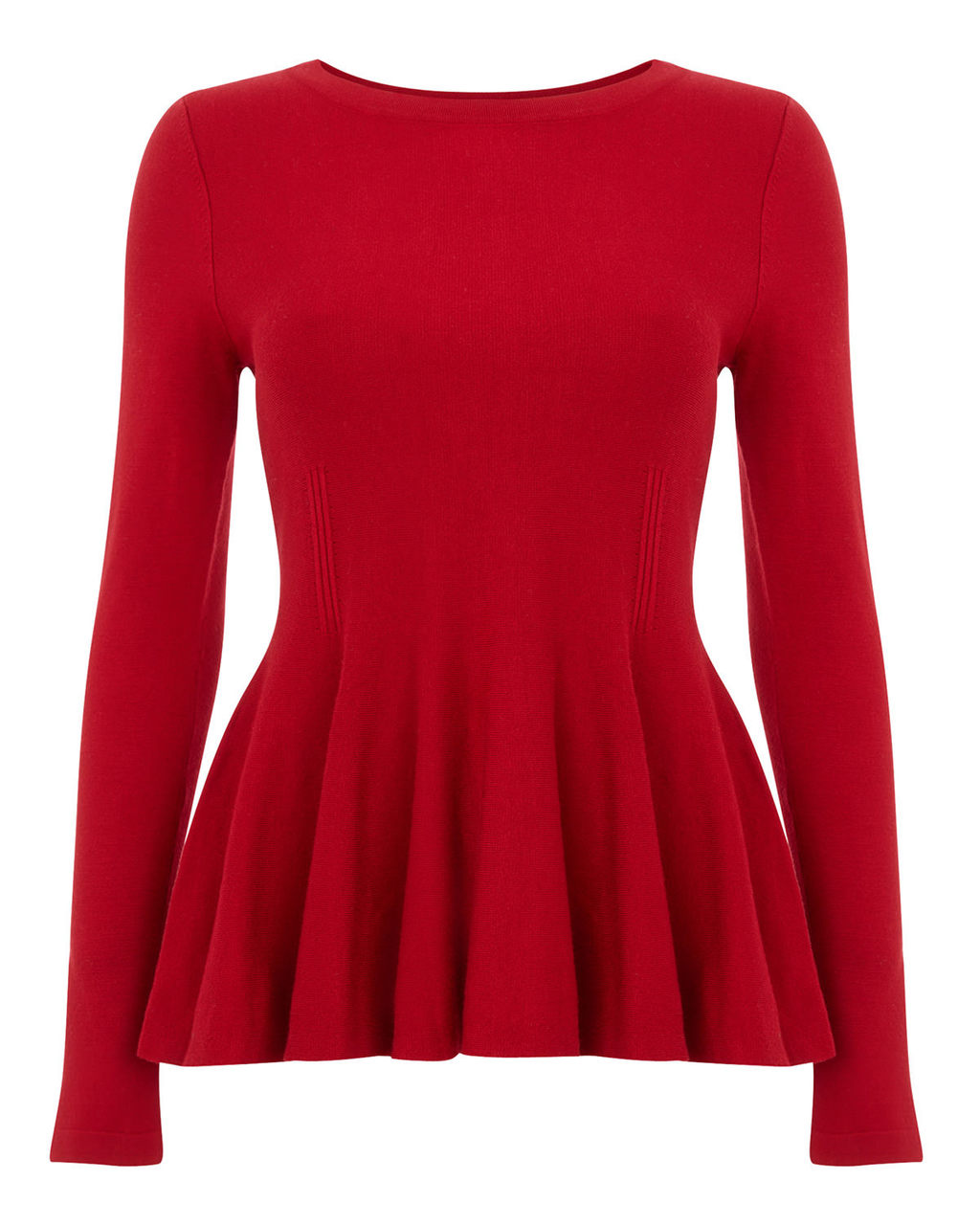 Maritza Peplum Knit Top - neckline: round neck; pattern: plain; length: below the bottom; waist detail: peplum waist detail; predominant colour: true red; occasions: work, occasion; style: top; fit: tailored/fitted; sleeve length: long sleeve; sleeve style: standard; texture group: knits/crochet; pattern type: knitted - fine stitch; season: a/w 2015; wardrobe: highlight