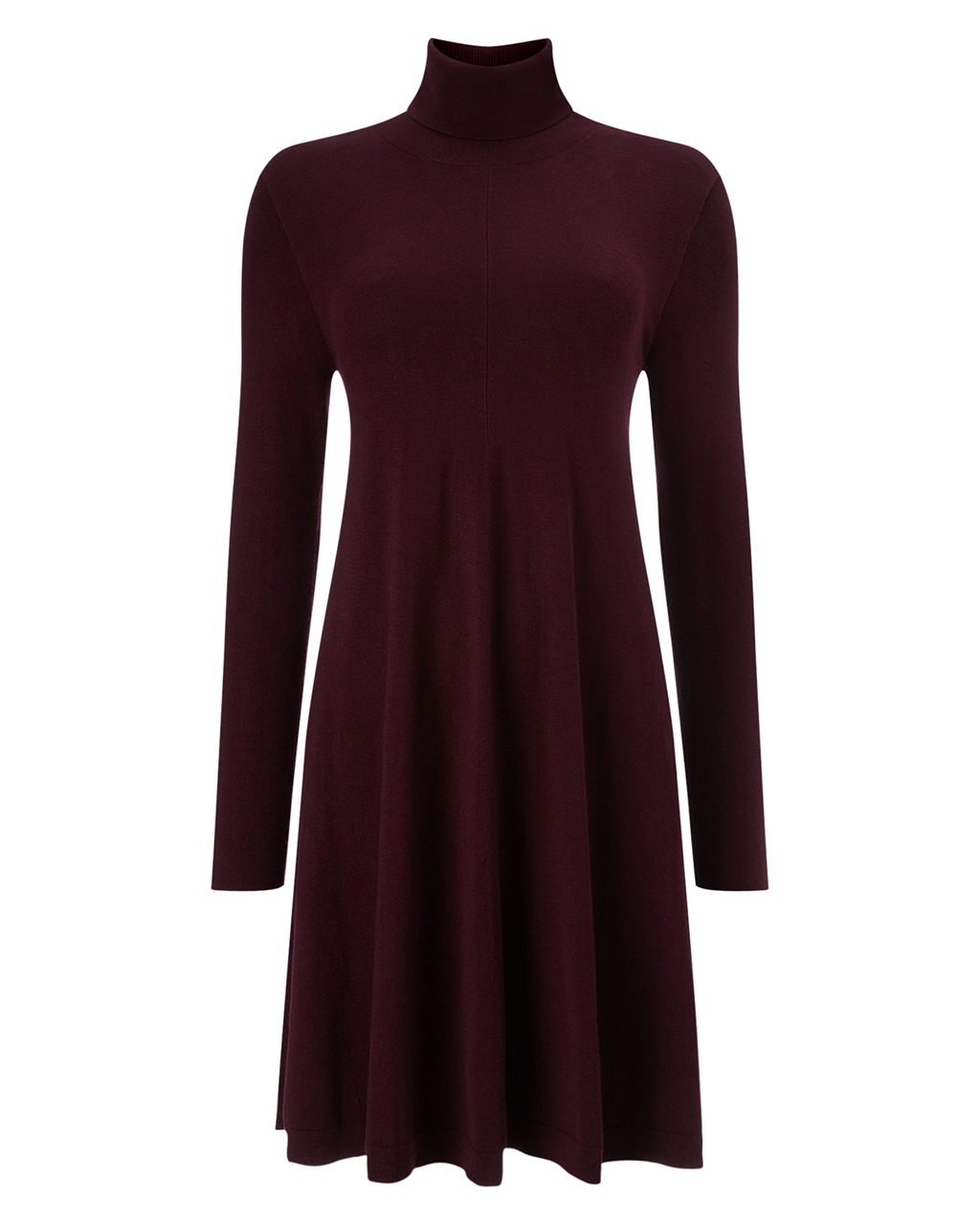 Melody Swing Tunic - pattern: plain; style: tunic; neckline: roll neck; predominant colour: aubergine; occasions: casual, creative work; fit: loose; length: mid thigh; sleeve length: long sleeve; sleeve style: standard; texture group: knits/crochet; pattern type: knitted - other; season: a/w 2015; wardrobe: highlight