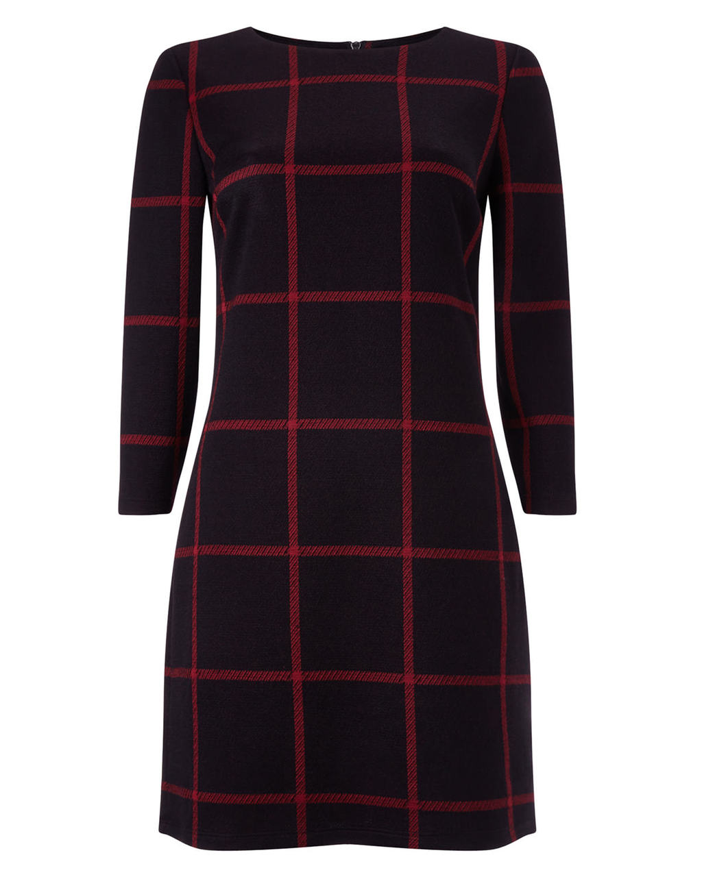 Check Ponte Tunic - neckline: round neck; pattern: checked/gingham; style: tunic; secondary colour: true red; predominant colour: black; occasions: casual, creative work; fit: body skimming; length: mid thigh; sleeve length: 3/4 length; sleeve style: standard; texture group: knits/crochet; pattern type: knitted - fine stitch; pattern size: big & busy (top); season: a/w 2015; wardrobe: highlight