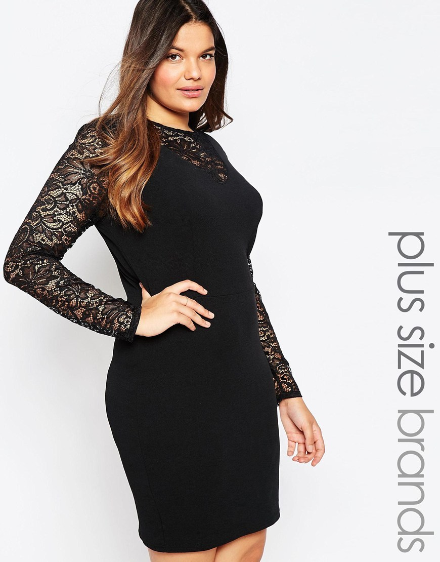 Plus Size Bodycon Dress With Lace Insert Black - style: shift; length: mid thigh; predominant colour: black; occasions: evening, occasion; fit: body skimming; fibres: polyester/polyamide - stretch; neckline: crew; sleeve length: long sleeve; sleeve style: standard; texture group: lace; pattern type: fabric; pattern size: standard; pattern: patterned/print; embellishment: lace; shoulder detail: sheer at shoulder; season: a/w 2015; wardrobe: event; embellishment location: shoulder, sleeve/cuff