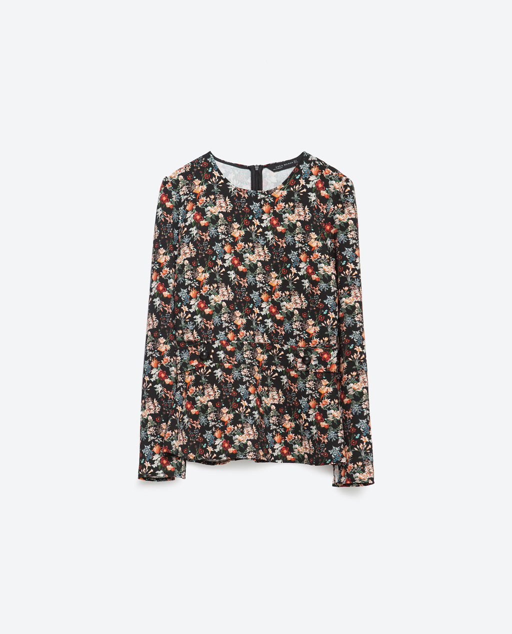 Printed Blouse - neckline: round neck; secondary colour: bright orange; predominant colour: black; occasions: casual, creative work; length: standard; style: top; fibres: polyester/polyamide - 100%; fit: body skimming; sleeve length: long sleeve; sleeve style: standard; pattern type: fabric; pattern: florals; texture group: jersey - stretchy/drapey; pattern size: big & busy (top); multicoloured: multicoloured; season: a/w 2015; wardrobe: highlight