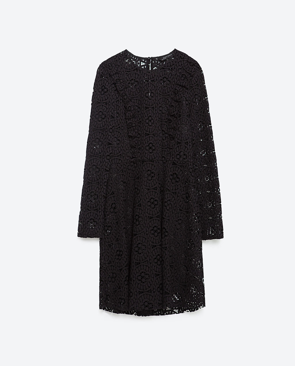 Lace Dress - style: shift; fit: tailored/fitted; predominant colour: black; occasions: evening, occasion; length: on the knee; fibres: cotton - mix; neckline: crew; back detail: keyhole/peephole detail at back; sleeve length: long sleeve; sleeve style: standard; texture group: lace; bust detail: bulky details at bust; pattern type: fabric; pattern size: standard; pattern: patterned/print; season: a/w 2015; wardrobe: event