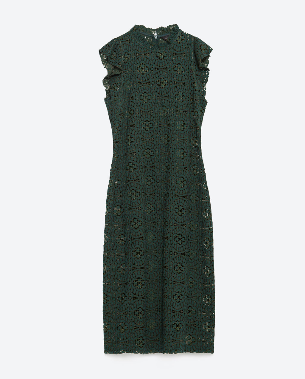 Long Tube Dress - sleeve style: capped; fit: tight; neckline: high neck; style: bodycon; predominant colour: dark green; occasions: evening, occasion, creative work; length: on the knee; fibres: cotton - mix; sleeve length: sleeveless; texture group: lace; pattern type: fabric; pattern size: standard; pattern: patterned/print; season: a/w 2015; wardrobe: highlight