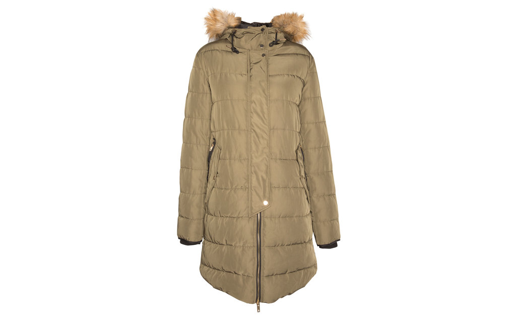 Long Anorak - pattern: plain; collar: funnel; fit: loose; style: parka; length: mid thigh; predominant colour: khaki; occasions: casual; sleeve length: long sleeve; sleeve style: standard; texture group: technical outdoor fabrics; collar break: high; pattern type: fabric; embellishment: quilted; season: a/w 2015; wardrobe: highlight